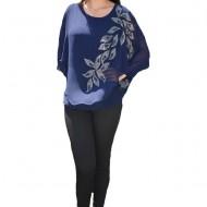 Bluza dama Kerine,insertii de strasuri si margele,nuanta de bleumarin