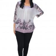 Bluza de ocazie din material tip voal,pudra cu imprimeu floral pudra