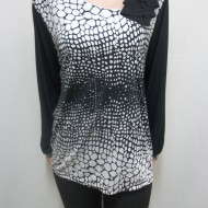 Bluza de ocazie neagra cu imprimeu alb cu aspect lucios