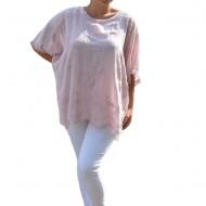 Bluza de vara lejera Andreea model brodat si paiete la umeri,nuanta de pudra