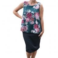 Bluza de vara tip maieu,Florice din voal ,imprimeu flower,motive rose , nuanta de verde inchis