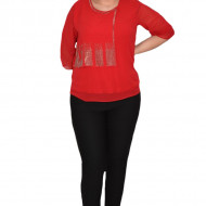 Bluza eleganta Hanna din voal cu aplicatii de strasuri ,nuanta de rosu
