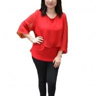 Bluza eleganta Silvia,aplicatii de strasuri pe voal,nuanat de rosu