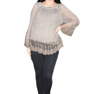 Bluza Elena din tricot cu insertii de dantela ,nuanta de kaki