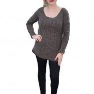 Bluza fashion din tricot cu design impletit, de culoare maro inchis