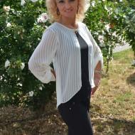 Bluza feminina de ocazie, material elastic negru si voal alb