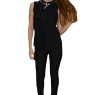 Bluza fronsata in fata si decorata cu volane, culoare neagra