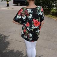 Bluza lejera Calandra cu imprimeu si motive rose, nuanta de negru