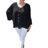 Bluza lejera Carina cu insertii de dantela ,nuanta de negru