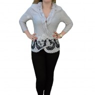 Bluza moderna, chic, maneca trei-sfeturi, marimi mari, negru-alb