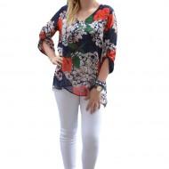 Bluza moderna cu maneca scurta, nuanta bleumarin cu trandafiri