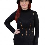 Bluza originala cu decolteu adanc in V, neagra, din material tricotat