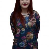 Bluza rafinata cu imprimeu floral multicolor pe fond bleumarin