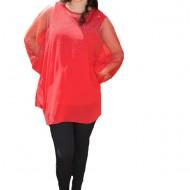 Bluza rafinata cu strasuri model cu voal detasabil,nuanta de rosu