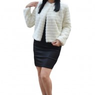 Bolero elegant Denisse din blana sintentica ,model matlasat,alb