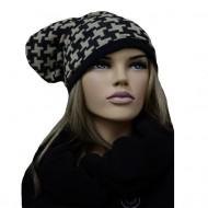 Caciula trendy de iarna, cu imprimeu bicolor in nuante negru-crem