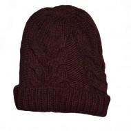 Caciula trendy din material tricotat cu model impletit, marsala