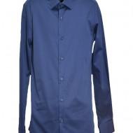 Camasa bleumarin cu design simplist si croi slim, maneca lunga