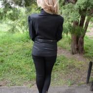 Camasa casual in nuanta de negru, masura mare, cu curea