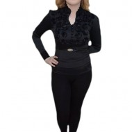 Camasa clasica, nuanta de negru, design floral modern, curea simpla