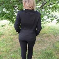 Camasa eleganta de culoare neagra, design de fodre si flori