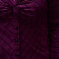 Camasa originala mov cu imprimeu de carouri si model fronsat