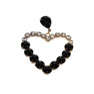 Cercei in forma de inima,in nuanta de negru si maro