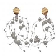 Cercei rafinati,model lung,cu perle si cristal,model mai aparte,nuanta auriu