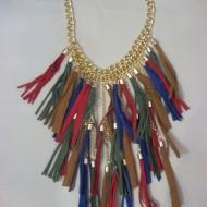 Colier chic din lant auriu cu model tip cascada de snur multicolor