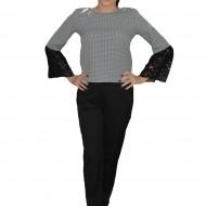Costum de ocazie cu pantalon negru si bluza pepit cu dantela