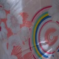 Esarfa cu imprimeu original aspect de curcubeu, nuanta piersica