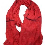 Esarfa fina din vascoza, de culoare rosie, design de dungi subtiri
