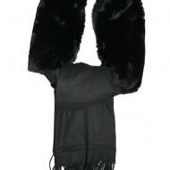 Esarfa moderna toamna-iarna cu blana,nuanta neagra