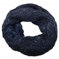 Fular Eve circular din tricot cu insertii de paiete si blanita ,nuanta de bleumarin