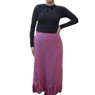Fusta Ava lunga din tricot si insertii de dantela,nuanta de marsala