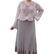 Fusta Ava lunga din tricot si insertii de dantela,nunta de plamaniu
