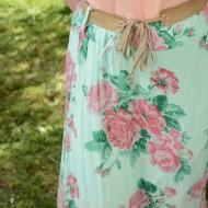 Fusta lunga de vara, de culoare turcoaz, cu elastic in talie