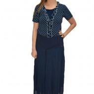 Fusta plisata lunga, casual-eleganta, in nuanta de bleumarin