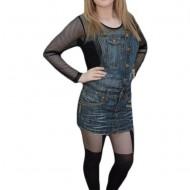 Fusta trendy de culoare bleumarin, model tineresc cu bretele