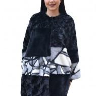 Jacheta Elenore din blana artificiala cu imprimeu tip mozaic ,nuanta de negru