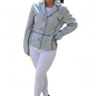 Jacheta scurta Jasmine pana in talie,piele naturala,nuanta de gri deschis