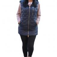 Jacheta tip vesta Denise cu model asimetric, 3d-heart ,nuanat de bleumarin