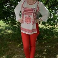 Pantalon casual, nuanta rosie, talie medie, curea fashion si subtire