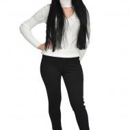 Pantalon cu insertii de piele pe picior ,nuanta de negru