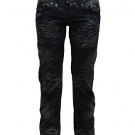Pantalon de blug, de nuanta bleumarin, cu model de fronseuri