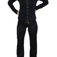 Pantalon deosebit, nuanta de negru, curea lucioasa