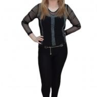 Pantalon elastic, nuanta de negru, buline fashion aplicate