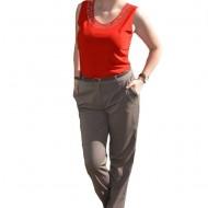 Pantalon lung cu aspect clasic, nuanta nisipie, cu talie medie