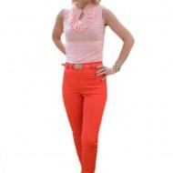 Pantalon lung de vara, culoare rosie, cu design de strasuri