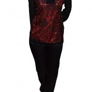 Pantalon lung, deosebit, din material cu aspect satinat, negru